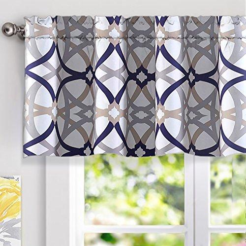 (DriftAway Alexander Spiral Geo Trellis Pattern Window Curtain Valance, Rod Pocket, 52