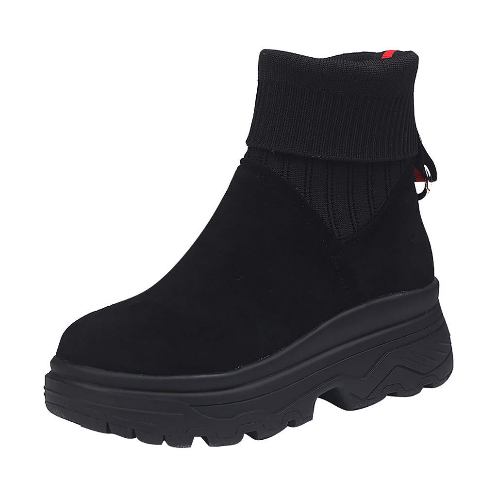 Inverlee Shoes Womens Mixed Colors Platform Slip-On Round Toe Party Casual Boots Black