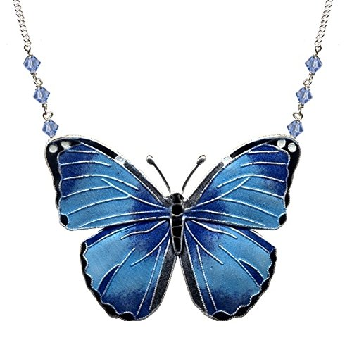 Blue Morpho Butterfly Cloisonne Small Necklace