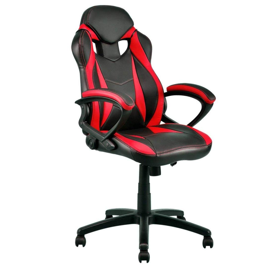 Modern Style High Back Gaming Chairs 360-Degree Swivel Design Desk Task PU Leather Upholstery Thick Padded Seat Posture Support Home Office Furniture - (1) Red/Black #2123 by KLS14