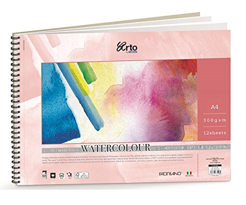Campap 300GSM A4 Size Cotton Hot Pressed FSC Certified Acid Free Watercolour Painting Book  Pack of 12 Sheets