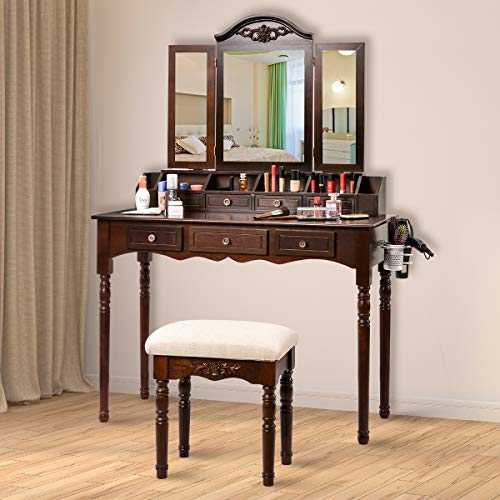 Makeup Vanity Table Set, Sunix Vanity Dressing Table with Folding Mirror and Cushioned Stool, 7 Drawers, Hair Dryer Holder, Cherry