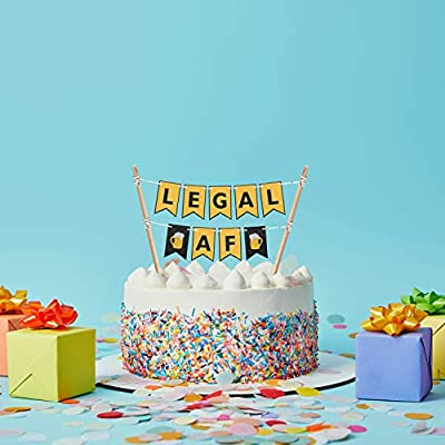 Legal AF Cake Bunting Topper 21st Birthday Cake Banner Topper Garland Happy 21st Birthday Party Decor Supplies: Toys & Games