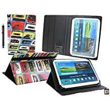 Emartbuy® Teclast X16 Plus 10.6 Inch Tablet Universal Range ( 10 - 11 Inch ) Retro Cassette Multi Angle Executive Folio Wallet Case Cover With Card Slots + Stylus