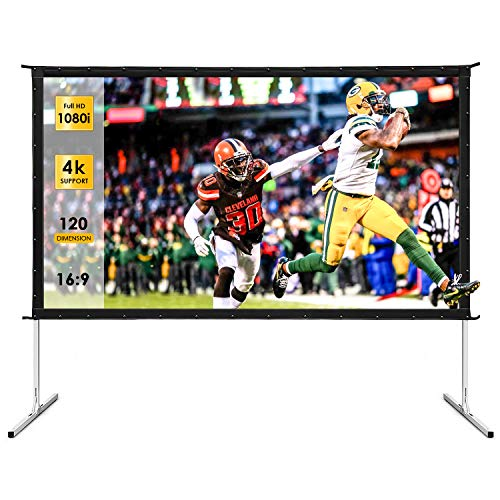 Outdoor Projector Screen, TUSY 120-inch Portable Movie Screen, 16:9 4K Ultra HD 3D Projector Outdoor Movie with Stand-Folding Wall-Mounted Movie Screen for Home Theater Movies