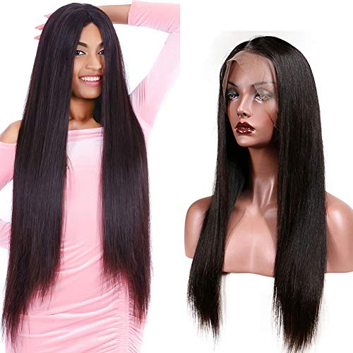 13x4 Lace Front Wig Brazilian Straight Hair Lace Wigs Pre Plucked Bleached Knots With Baby Hair Cheap Wigs For Black Women 130% Density Remy Lace Front Wigs Natural Black Wholesale(24 Inch)
