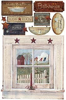 RoomMates RMK2147SLM Out House Window and Signs Peel and Stick Giant Wall Decal