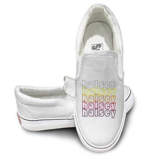 Rebecca Halsey Slip-on Unisex Flat Canvas Shoes Sneaker 44 White The Round Toe And Manmade Sole Will Keep Your Feet Feeling Comfortable And The Quality Canvas Materials Will Provide Years Of ()