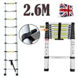 2.6m Multi-Purpose Aluminium Telescopic Ladder Extension Extendable Step 9 Step for Loft Indoor Outdoor Office - 2 Yr Warranty