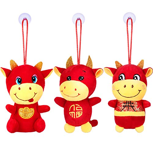 3 Pieces Chinese New Year Ox Plush Toy Year of Ox Soft Toy 2021 Lucky Cow Plush Ornament Red Mascot Ox Toy for 2021…