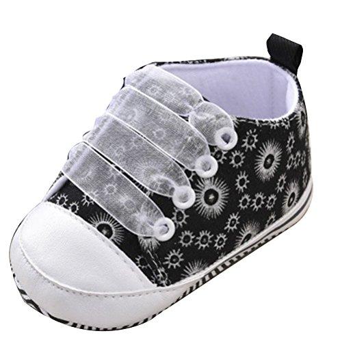 Zhhlinyuan Toddler Bebé Girls Soft Anti-slip Soled Canvas Floral Shoes Sneaker GL009 Black