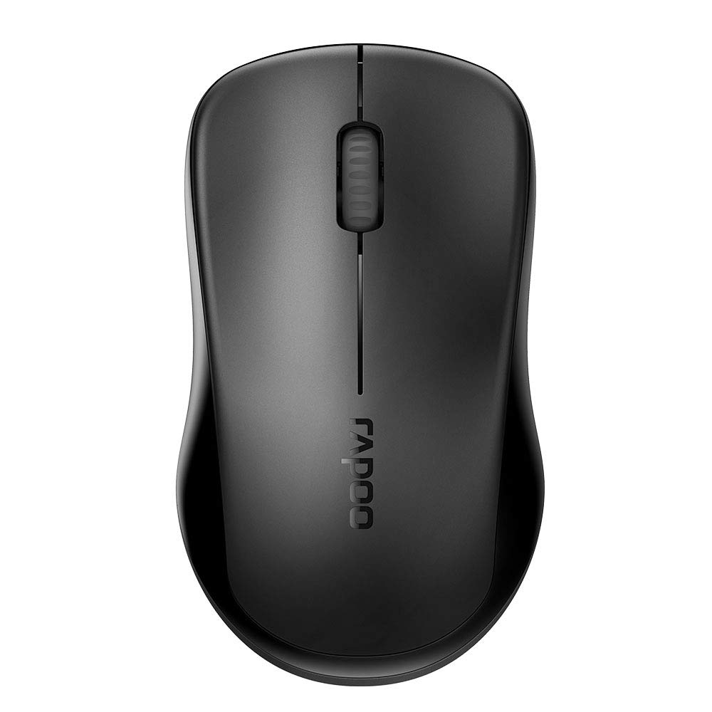 RAPOO 1680 2.4G Quiet Wireless Mouse, Portable USB Receiver, Long Range and Battery Life, Suitable for Desktop Computers Laptops, All-Day Comfort-Black