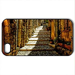 alley - Case Cover for iPhone 4 and 4s (Houses Series, Watercolor style, Black)