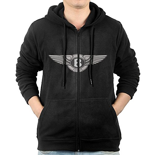 LuosisiJia Hoodie Sweatshirt Men's Bentley Long Sleeve Zip-up Hooded Sweatshirt Jacket Black Atlanta Braves Pullover Jacket