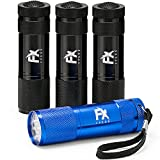 LED Torch 4 Pack - High Quality Small & Lightweight Pocket Flashlights Multipack of Super Bright 9 LED Mini Aluminum - Flash Lamp Perfect for use around the House use for Dog Walking Travel Camping Hiking Emergency Car EDC - Black and Blue