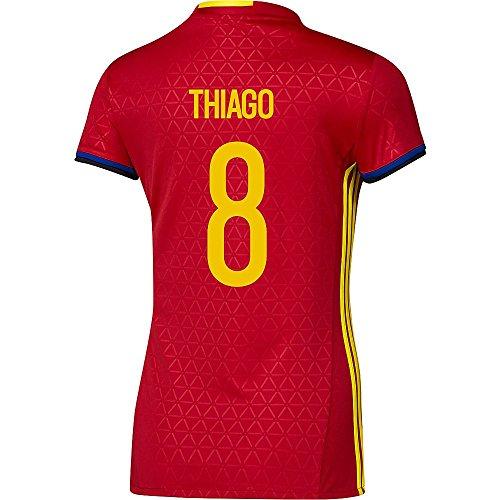 通り逆説クルーAdidas THIAGO #8 Spain Women's Home Jersey UEFA FURO 2016 (Authentic name & number) /サッカーユニフォーム スペイン ホーム用 ティアゴ レディース向け
