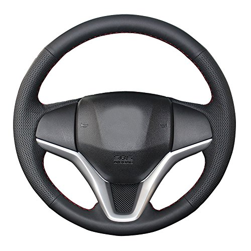 Eiseng DIY Genuine Black Leather Steering Wheel Cover for 2014 2015 2016 2017 2018 Honda HR-V HRV Vezel SUV/Honda Fit Jazz Hatchback 2015 2016 2017 2018 15 inch Interior Accessories (Red thread)
