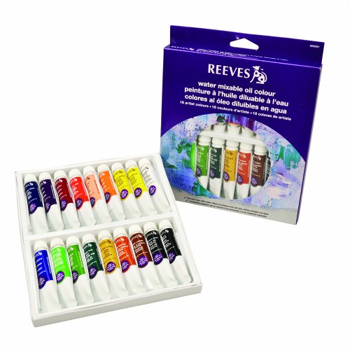Reeves 18-Pack Water Mixable Oil Color Tube Set, 10ml