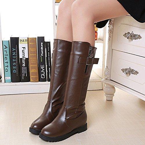HSXZ Zapatos de mujer moda otoño invierno PU Confort botas botas Nulo / Round Toe botas / Mid-Calf for casual marrón negra Brown