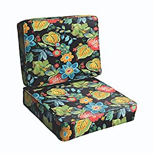 Mozaic Co. Black Tropical 23.5-inch Indoor/ Outdoor Corded Chair Cushion Set