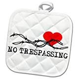 3dRose Alexis Design - Love - Barbed wire, red heart, no trespassing black text on white - 8x8 Potholder (phl_272314_1)