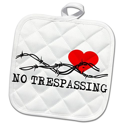 3dRose Alexis Design - Love - Barbed wire, red heart, no trespassing black text on white - 8x8 Potholder (phl_272314_1) by 3dRose