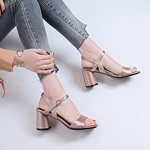 Spring 37 Size Open Heel Toe Sandals 2018 Shoes for Metal Chunky Club Color Leather B Women's Summer Dress Shoes UqtTCwnn