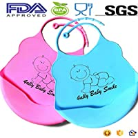 2-Pack BabySmile Soft Silicone Waterproof Baby Bibs for Boys and Girls