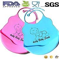 2-Pack BabySmile Silicone Waterproof Baby Bibs