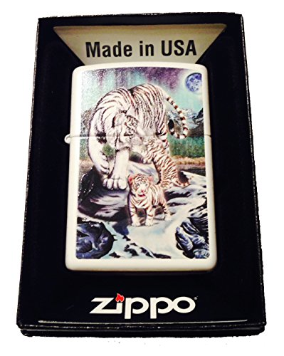 Zippo Custom Lighter - Celestial White Bengal Tigers & Cubs w/ Moon & Stars