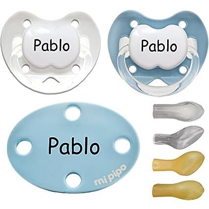 Mi Pipo - Pack 2 chupetes con broche personalizados blue 0 ...