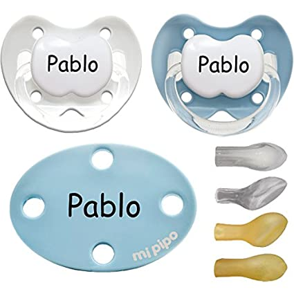 Mi Pipo - Pack 2 chupetes con broche personalizados blue 0-6meses ...