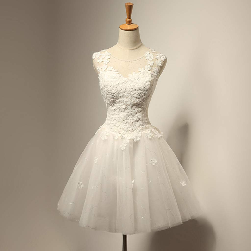 Vivianu Women Girl White Hard Mesh Short Petticoat,Double Layers Lolita Tutu Crinoline Underskirt,Semi See-Through Wedding Dress