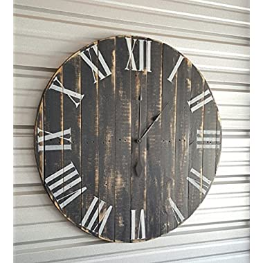 30in  Classic  farmhouse clock with dark gray distressed finish and white roman numerals. Fixer upper clock, reclaimed wood clock, shabby chic clock, rustic clock, oversized wall clock,