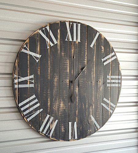 30in Quot Classic Quot Farmhouse Clock With Dark Gray Distressed