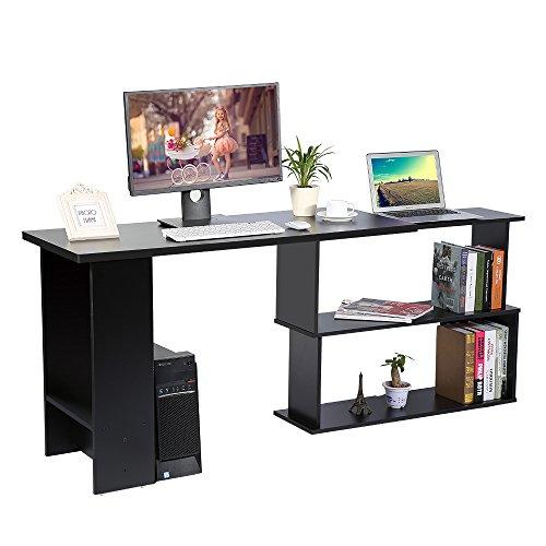 Corner Computer Desk, Home Office L-Shape Workstation PC Laptop Table, Compact Folding Study Writing Gaming Desk With Sliding Display Shelves Storage Unit Modern Home Furniture (Black)
