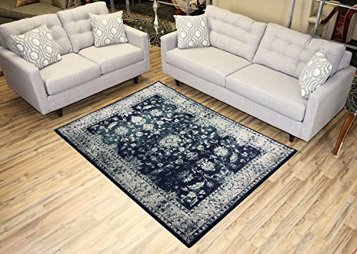 Studio Collection Vintage Mahal Allover Design Traditional Persian Area Rug Rugs 2 Different Color Options (Mahal Navy Blue, 5 x 7)