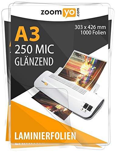 Zoomyo Premium Laminierfolien Laminiertaschen glänzend DIN A3   250 Micron   100 Stück B07H3XHCDW | Qualität zuerst