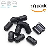 Topnisus [Pack of 10] Clip-on Ferrite Core Ring Bead Anti-interference High-frequency Filter RFI EMI Noise Suppressor Cable Clip (13mm inner diameter)