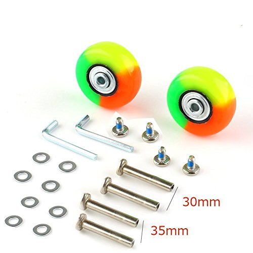- SENDY FEATHER Personality Inline Skate Wheels Colorful Skate Wheels for Shoes Mute Skate Replacement Wheels Luggage Suitcase Replacement Wheels Kit,Axles 30MM,35MM,Deluxe Repair 50 X 18mm