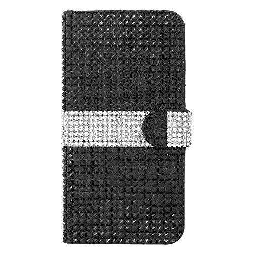 iPhone 6 Plus/6s Plus Case, Insten Folio Flip Rhinestone Diamond Bling Leather [Card Slot] Wallet Flap Pouch Case Cover for Apple iPhone 6 Plus/6s Plus, Black/Silver