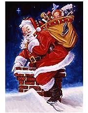 Vierkante 5D Kerst Diamant Schilderij Kits Volledige Boor, Familie Ornamenten Kristallen Diamanten Kerstman Strass Borduurwerk Kruissteek Kits Levering Kunst Craft Canvas Muur Decor Stickers Thuis