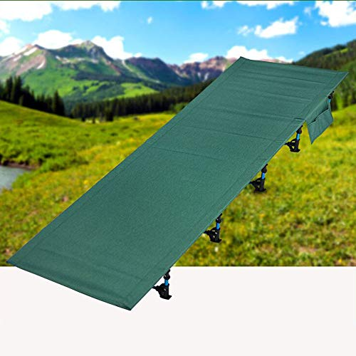 RNGNBKLS Camping Bed Folding Bed Spare Bed Easy Storage Camping Sleeping Equipment Ultralight Strong Stable Metal Legs,Blue
