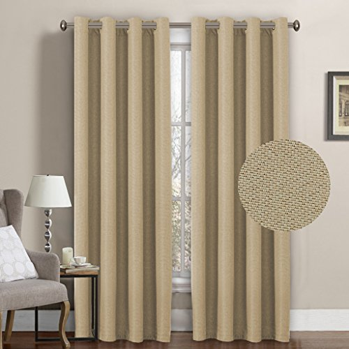 H.Versailtex Ultra Decent Room Darkening Thermal Insulated Textured Tiny Plaid Rich Linen Curtains for Bedroom/Living Room,8 Grommets per Panel,52 by 96 Inch-Beige (Set of 1)