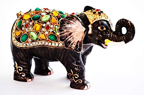 Crystal Elephant Trinket Box - Ciel Collectables Elephant Trinket Box. Hand Made with Swarovski Crystals & Enamel