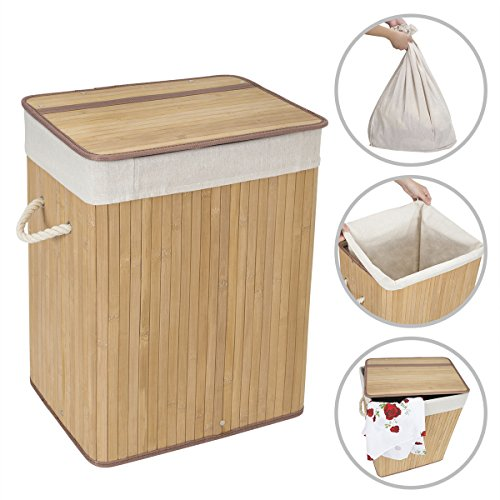 WOWLIVE Natural Bamboo Laundry Hamper Basket with Removable Lid and Liner Home and Dorm Corner Hamper
