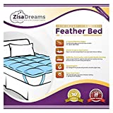 "Zisa Dreams Premium Comfort Baffle Box Feather Bed w/100% Cotton Shell - Cozy Mattress Topper, Hypoallergenic, 4"" Gusset with Bed Straps (Full)"