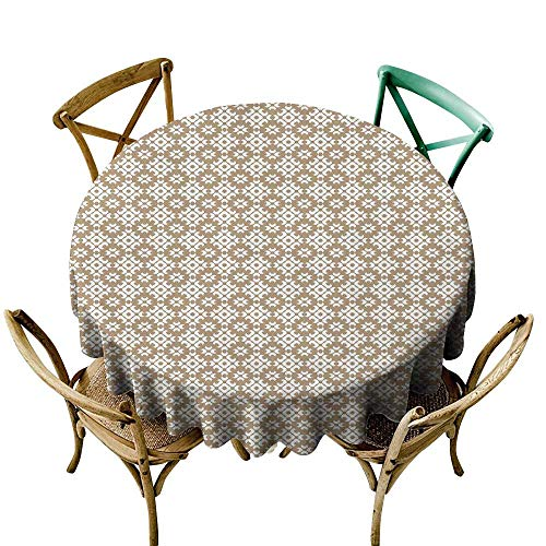 (Wendell Joshua Tablecloth 60 inch Beige,Geometric Arrangement with Diamond Pattern Circular Abstract Shapes Dotted Design,Beige White Suitable for Indoor Outdoor Round Tables)
