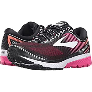 Brooks Women's Ghost 10 Black/Pink Peacock/Living Coral 7.5 D US