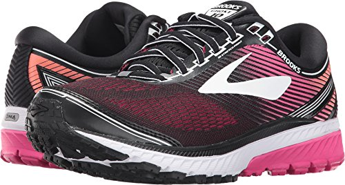 Brooks Women's Ghost 10 Black/Pink Peacock/Living Coral 10 AA US